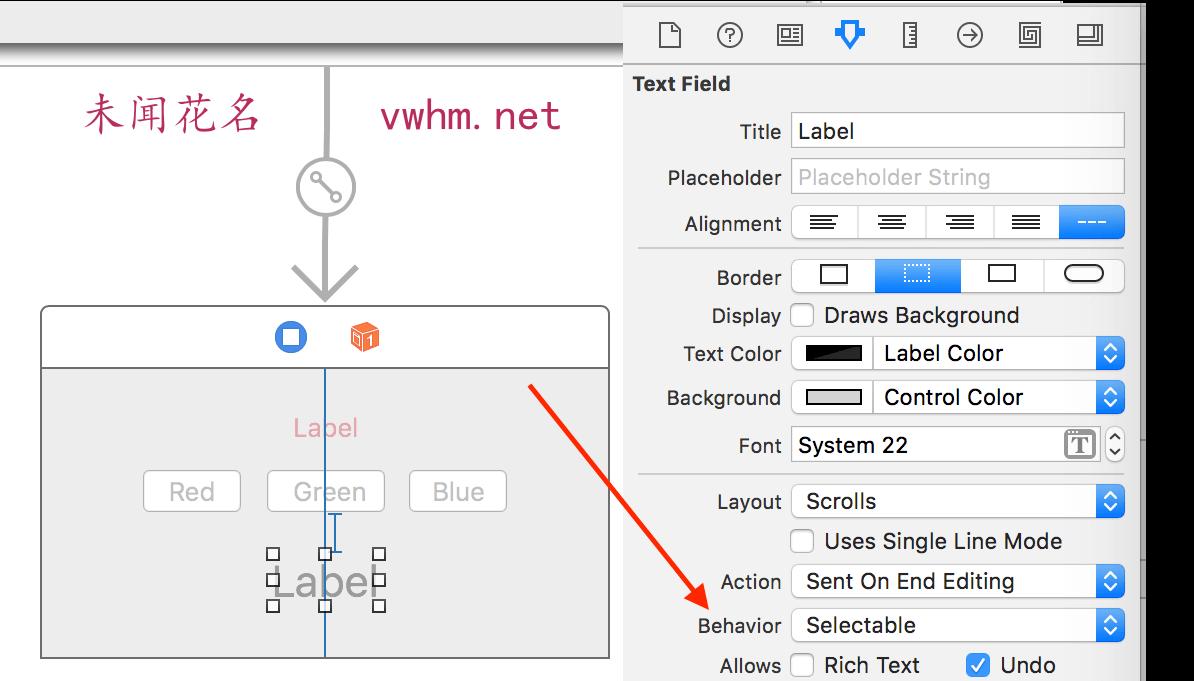 Mac app RGB To HEX 设置Label的behavior设置为Selectable